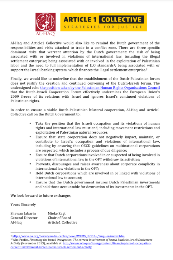 Al Haq and Article 1 Collective letter on fair trade for Palestine pagina 2