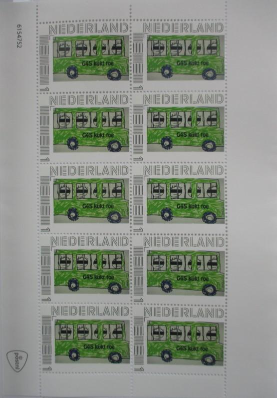G4S kijkt toe postzegel vel
